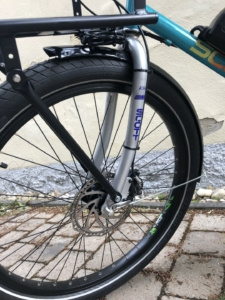 modernized customer bike, with an upgrade to disc brakes